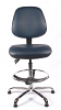 Juno Chrome Vinyl Medium Back Draughtsman Chair - DBlue3
