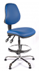 Juno Chrome Vinyl Medium Back Draughtsman Chair - LBlue2