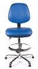 Juno Chrome Vinyl Medium Back Draughtsman Chair - LBlue3
