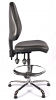 Juno Chrome Vinyl High Back Draughtsman Chair - Black1