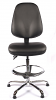 Juno Chrome Vinyl High Back Draughtsman Chair - Black3