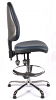 Juno Chrome Vinyl High Back Draughtsman Chair - DBlue1