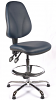 Juno Chrome Vinyl High Back Draughtsman Chair - DBlue2