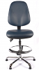Juno Chrome Vinyl High Back Draughtsman Chair - DBlue3