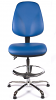 Juno Chrome Vinyl High Back Draughtsman Chair - LBlue3