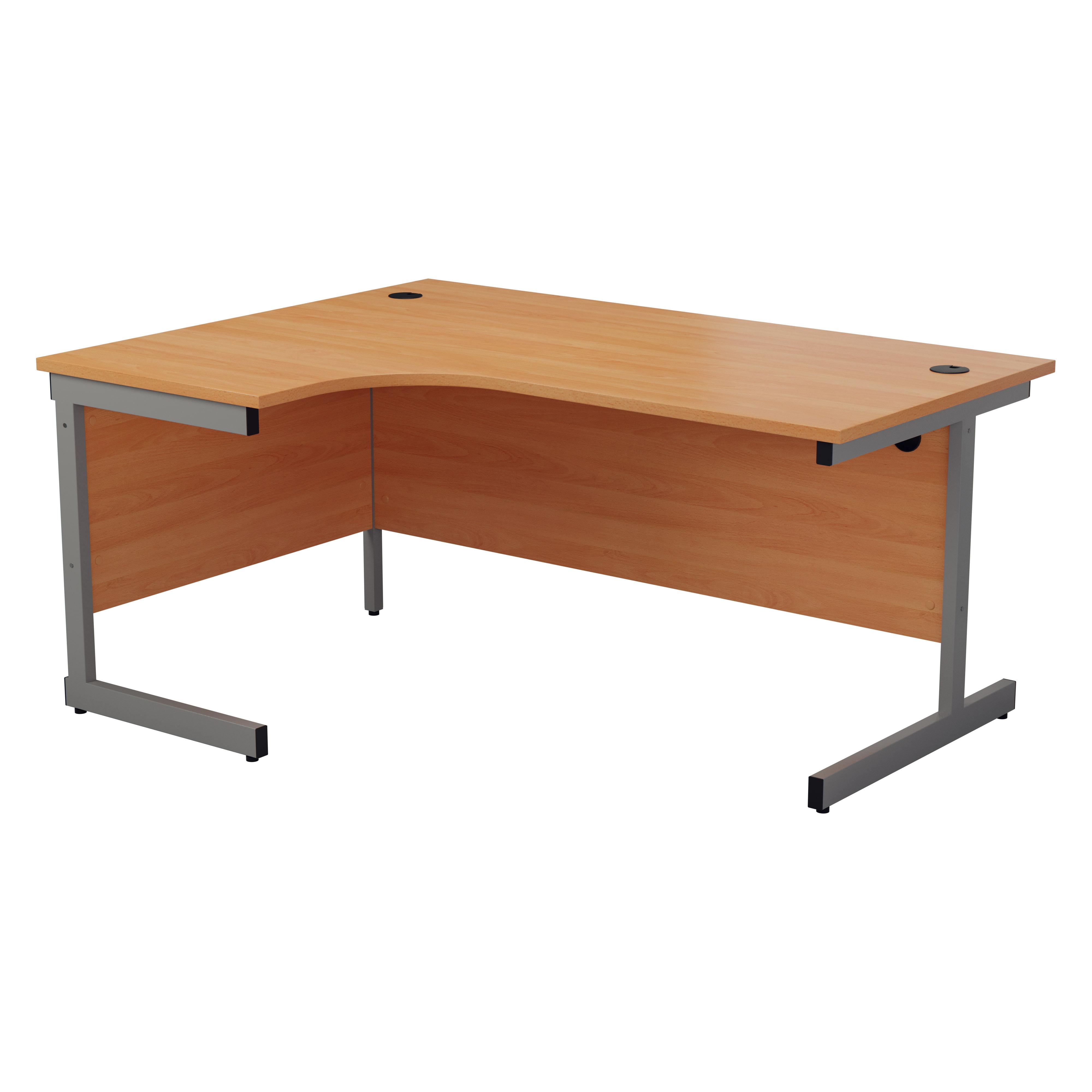 White Office Desk White 1600mm Left or Right Hand Crescent Desk and Pedestal