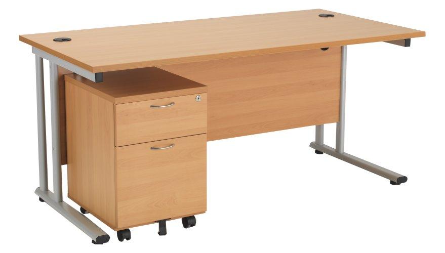 Smart 1600mm Rectangular Desk And 2 Drawer Pedestal
