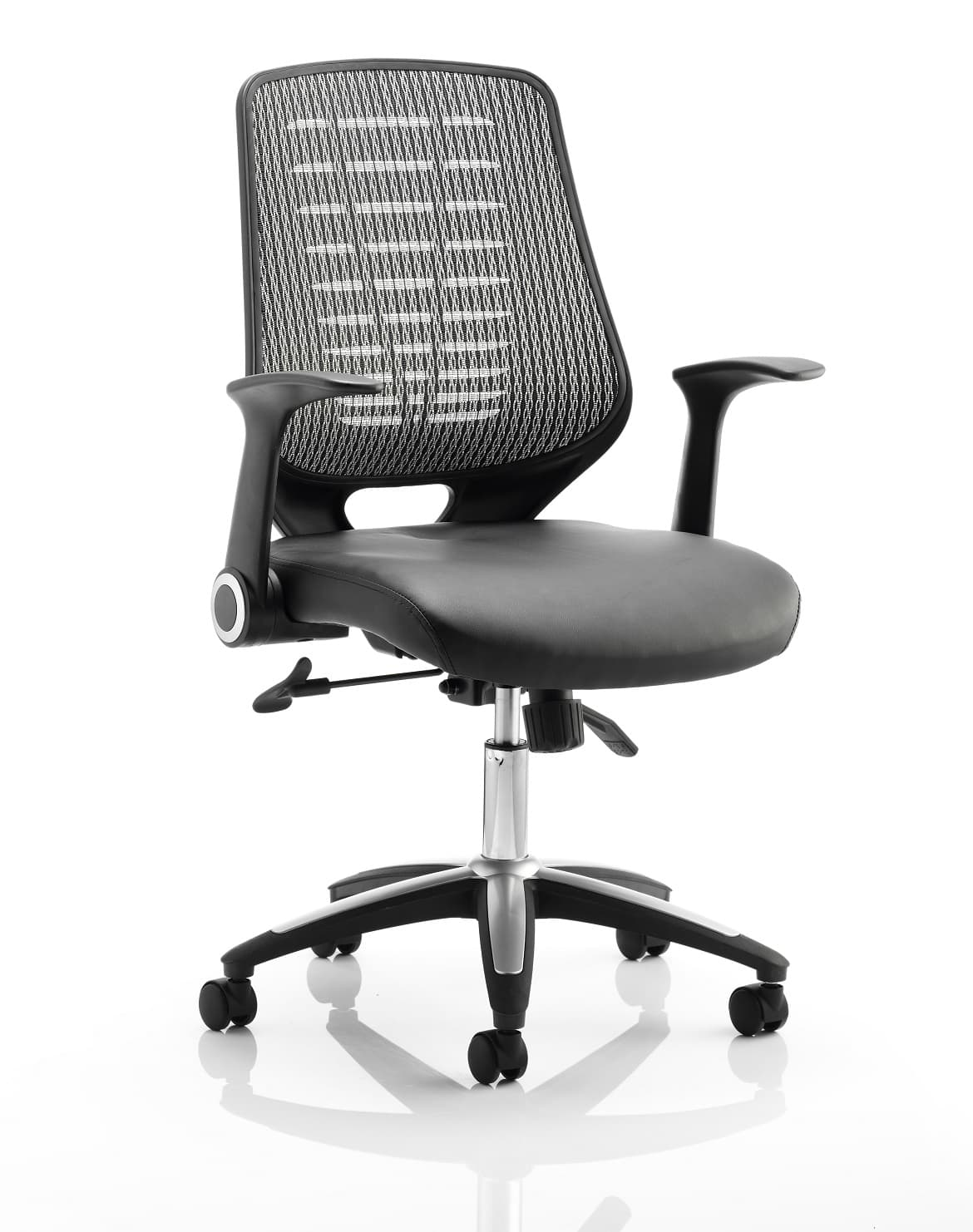 Relay Task Operator Chair Leather Seat Silver Back With Arms