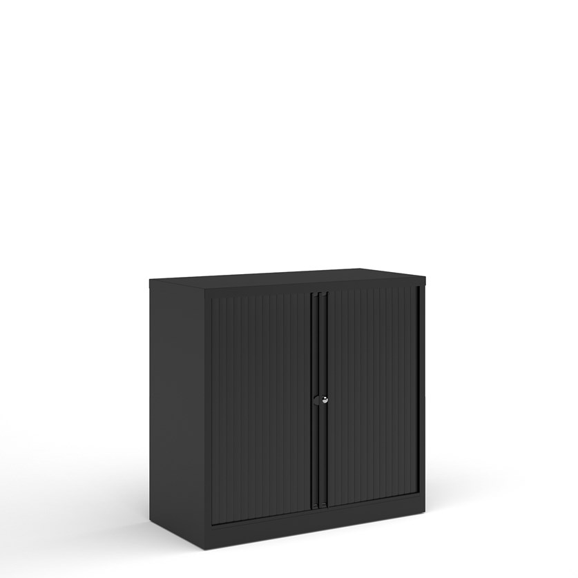 Bisley systems storage low tambour cupboard 1000mm high - black