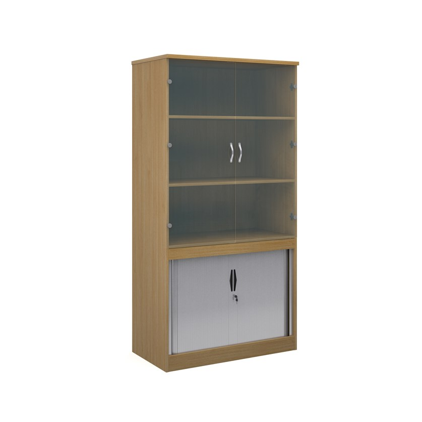 Relax Systems Combination Bookcase 2000mm Height With Horizontal Tambour & Glass Doors