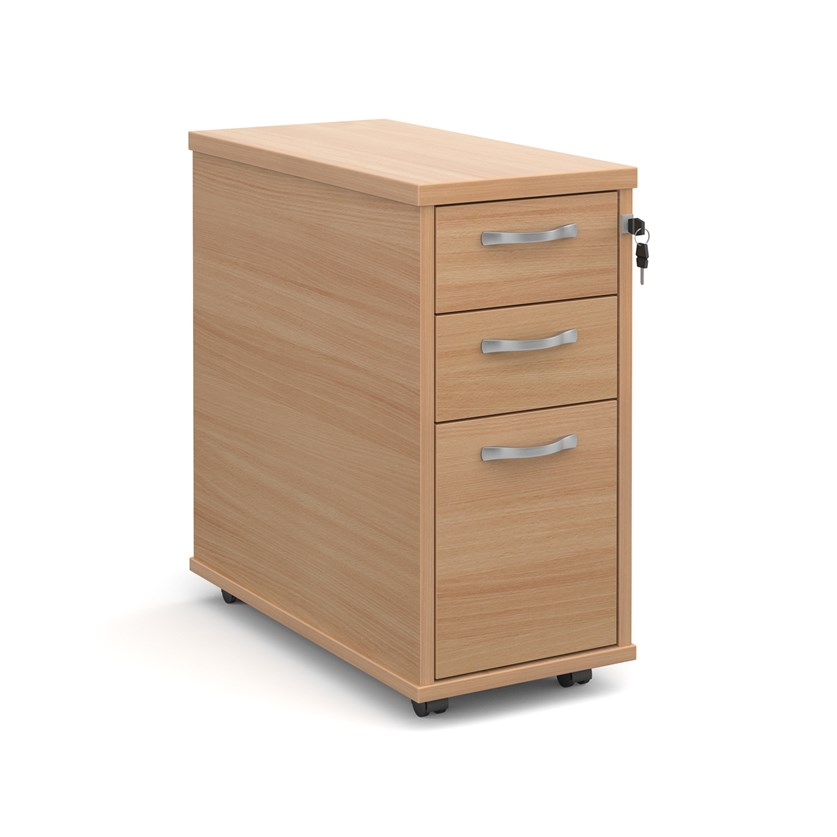 Relax Tall slimline mobile 3 drawer pedestal with silver handles 300mm width