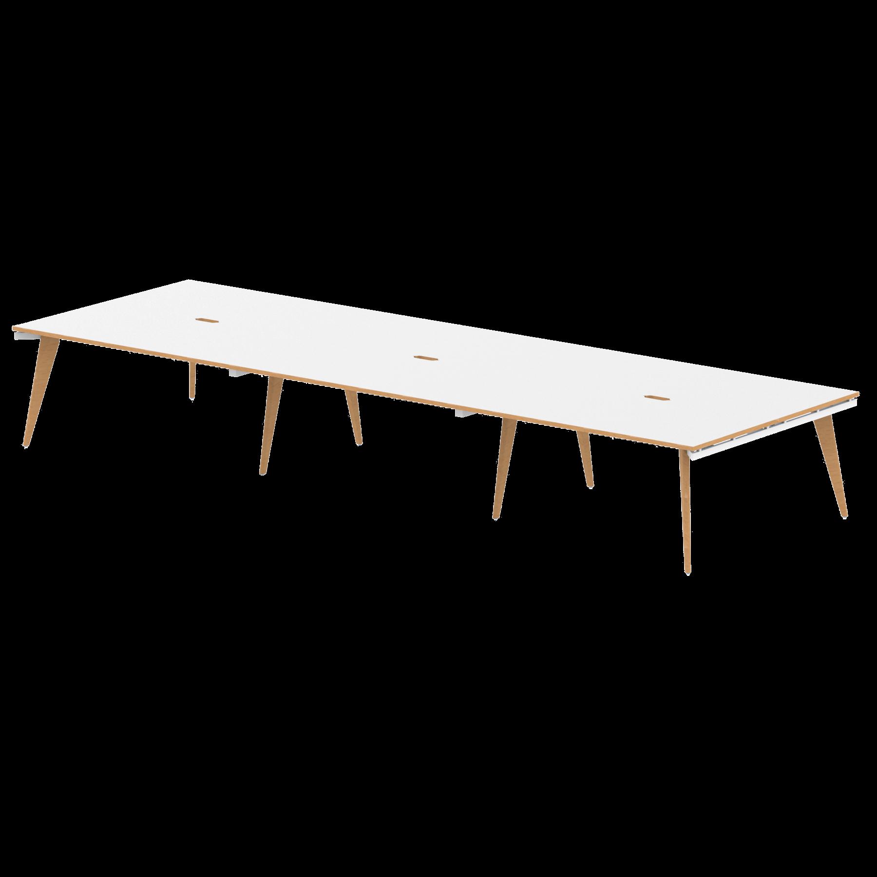 Oslo B2B White Frame Wooden Leg Bench Desk 1600 White With Natural Wood Edge (6 Pod)