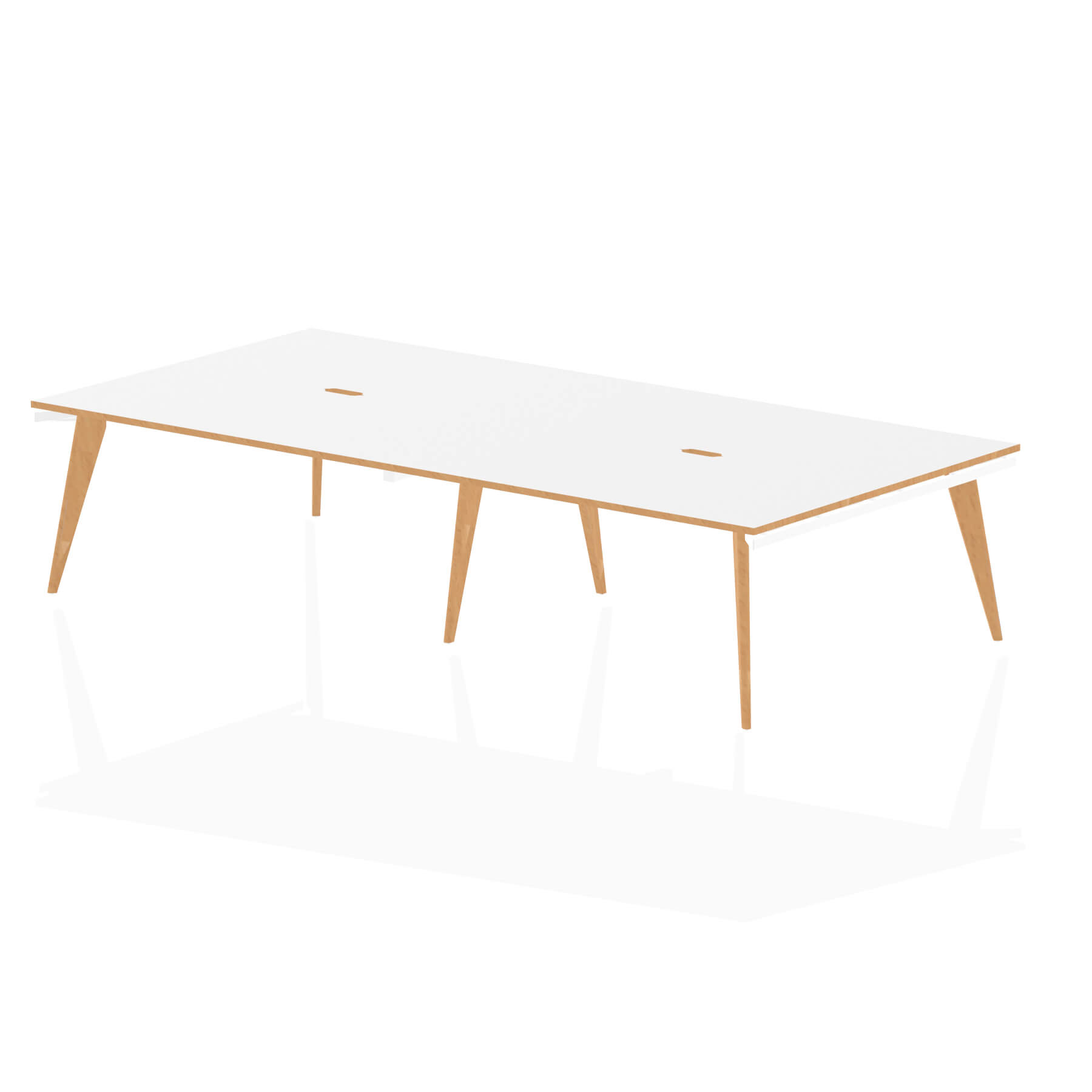 Oslo B2B White Frame Wooden Leg Bench Desk 1400 White With Natural Wood Edge (4 Pod)