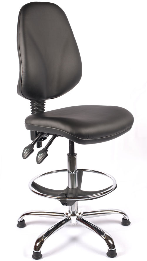 Juno Chrome Vinyl High Back Draughtsman Chair