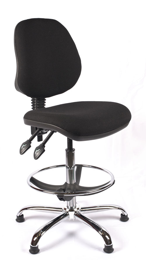 Juno Chrome Medium Back Draughtsman Chair