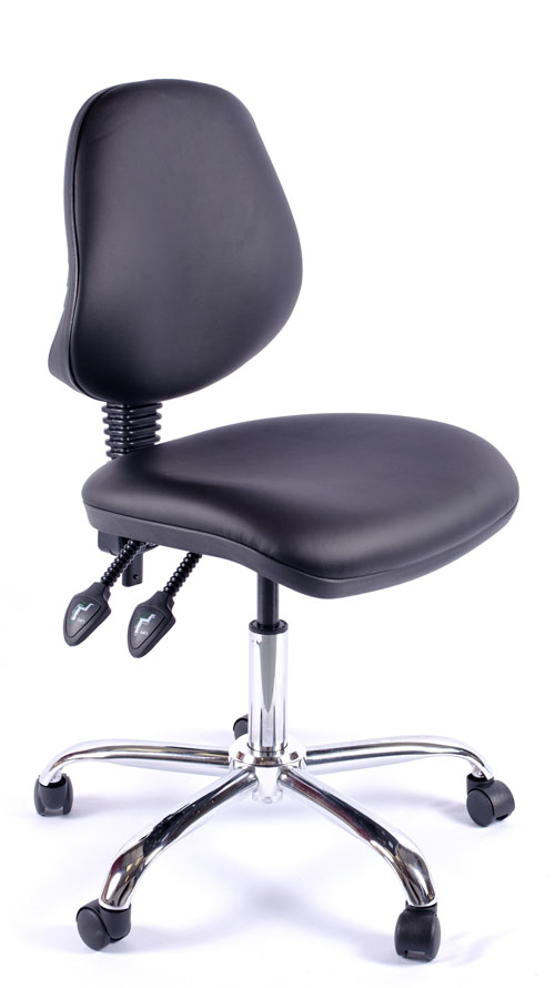 Juno Chrome Vinyl Medium Back Operator Chair