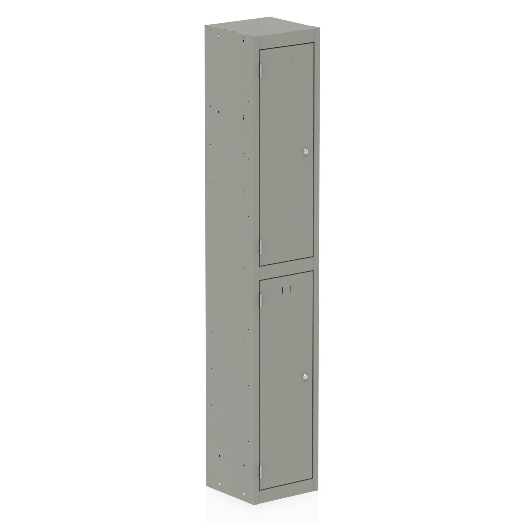 Qube Contract Locker 2 Door 1780mm High 458 Deep Goose Grey Assembled