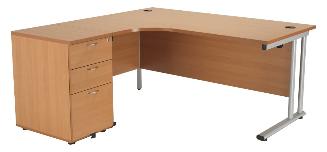 Smart - 1600mm Left Hand Crescent Desk and Pedestal