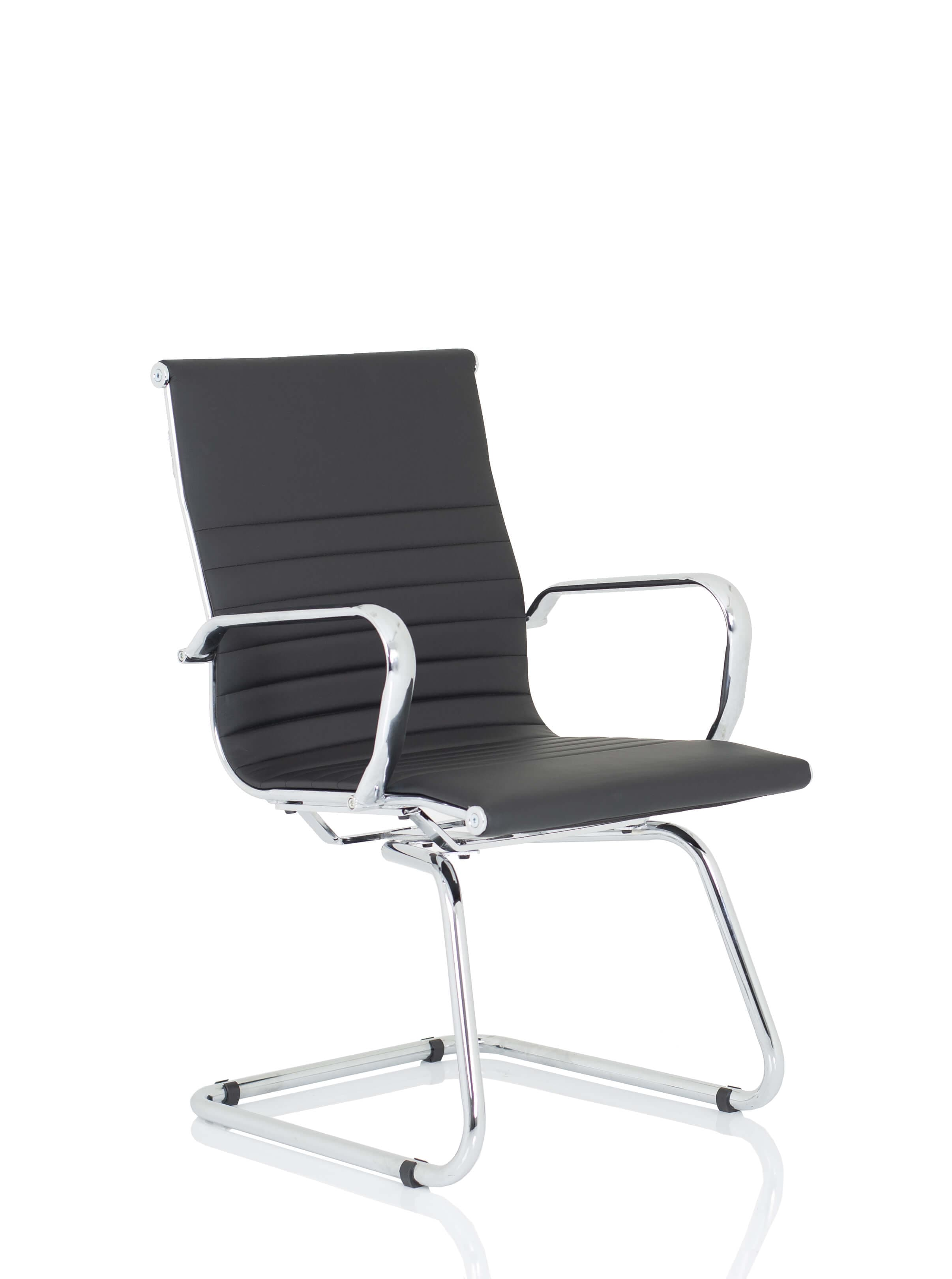 Nola Black Bonded Leather Cantilever Chair