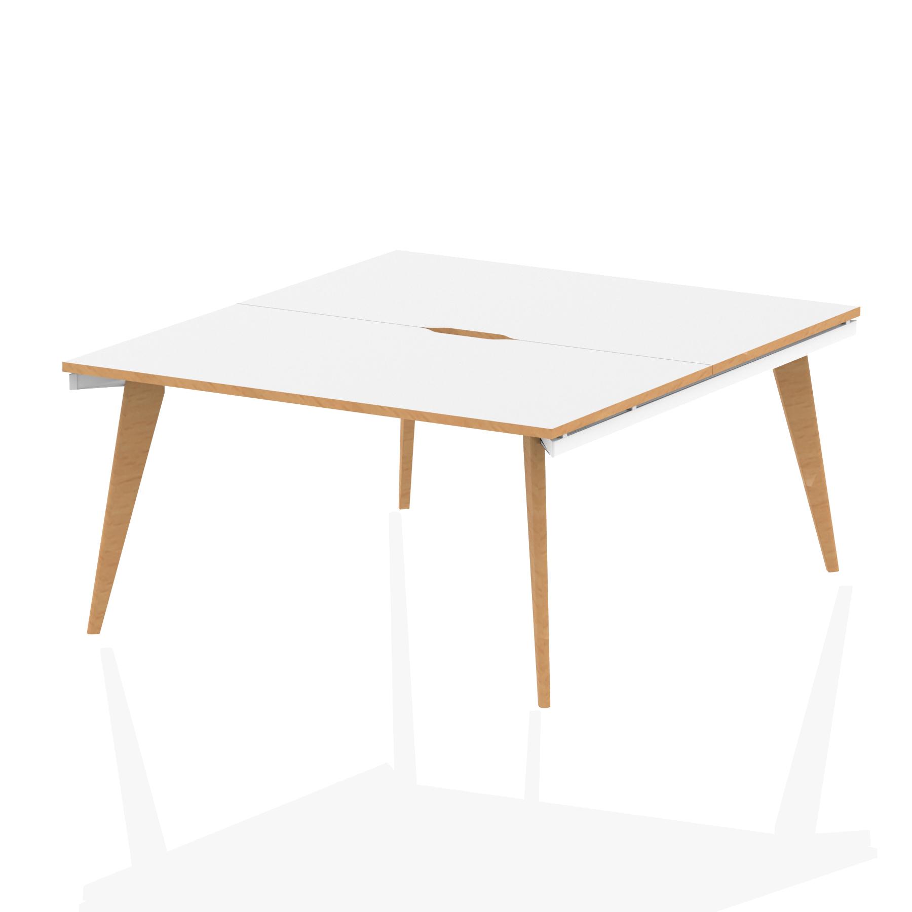 Oslo B2B White Frame Wooden Leg Bench Desk 1400 White With Natural Wood Edge (2 Pod)