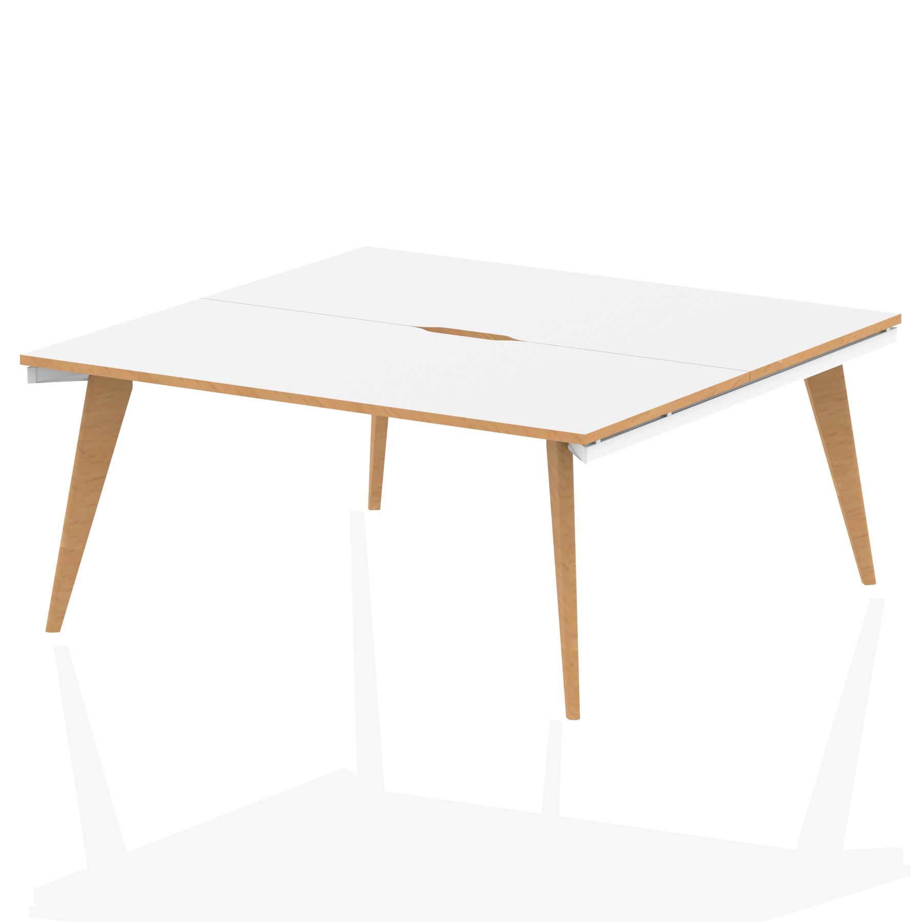 Oslo B2B White Frame Wooden Leg Bench Desk 1600 White With Natural Wood Edge (2 Pod)