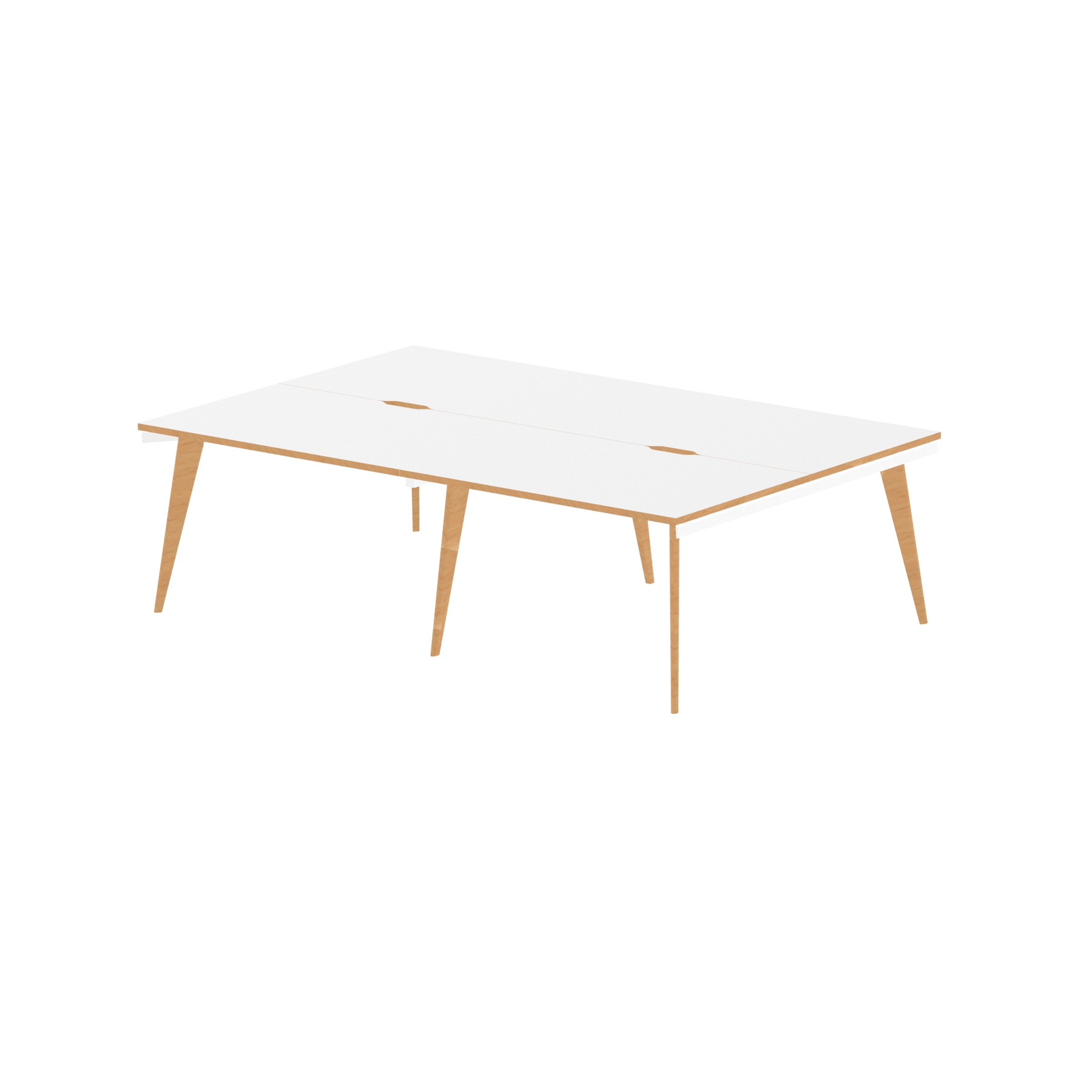 Oslo B2B White Frame Wooden Leg Bench Desk 1200 White With Natural Wood Edge (4 Pod)