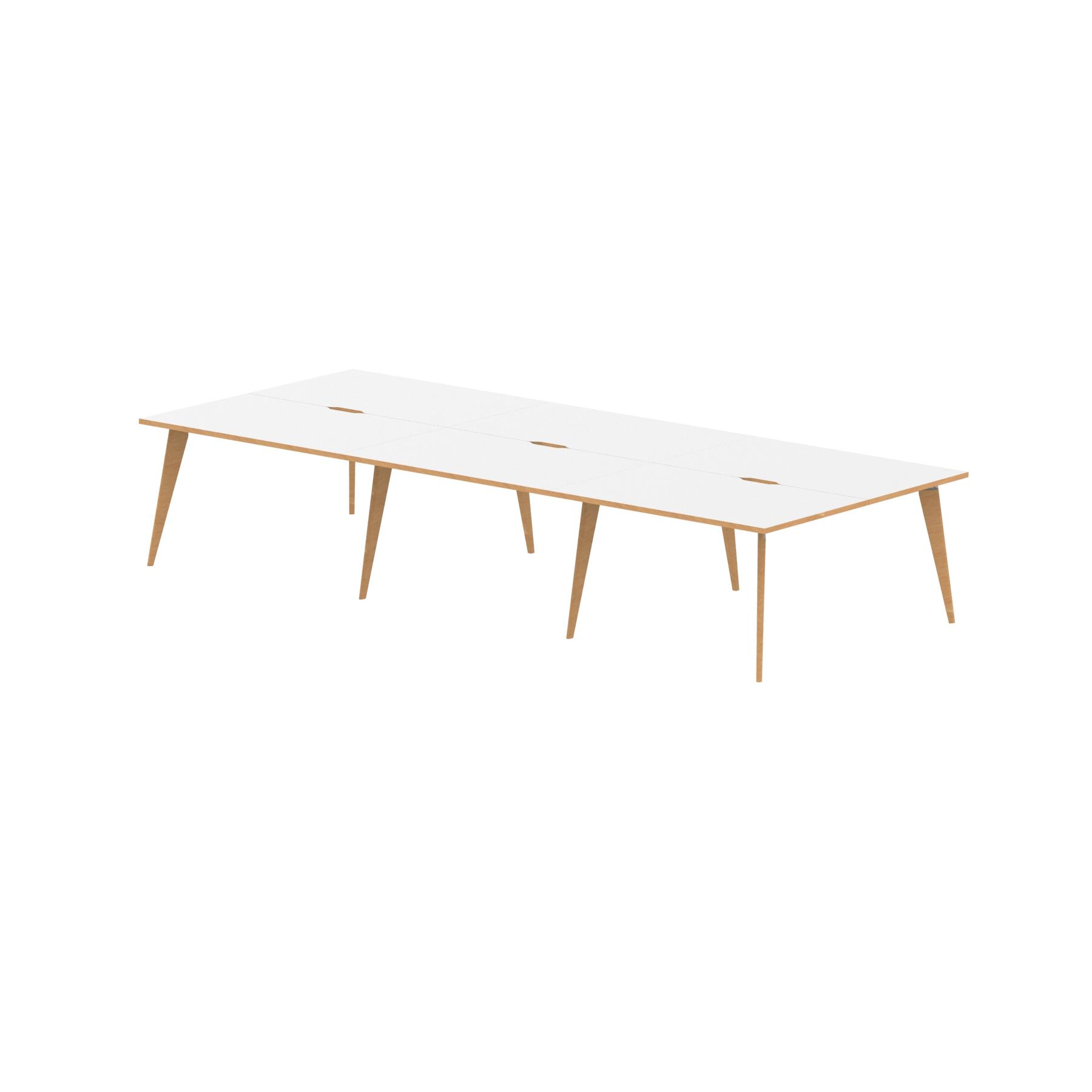 Oslo B2B White Frame Wooden Leg Bench Desk 1200 White With Natural Wood Edge (6 Pod)