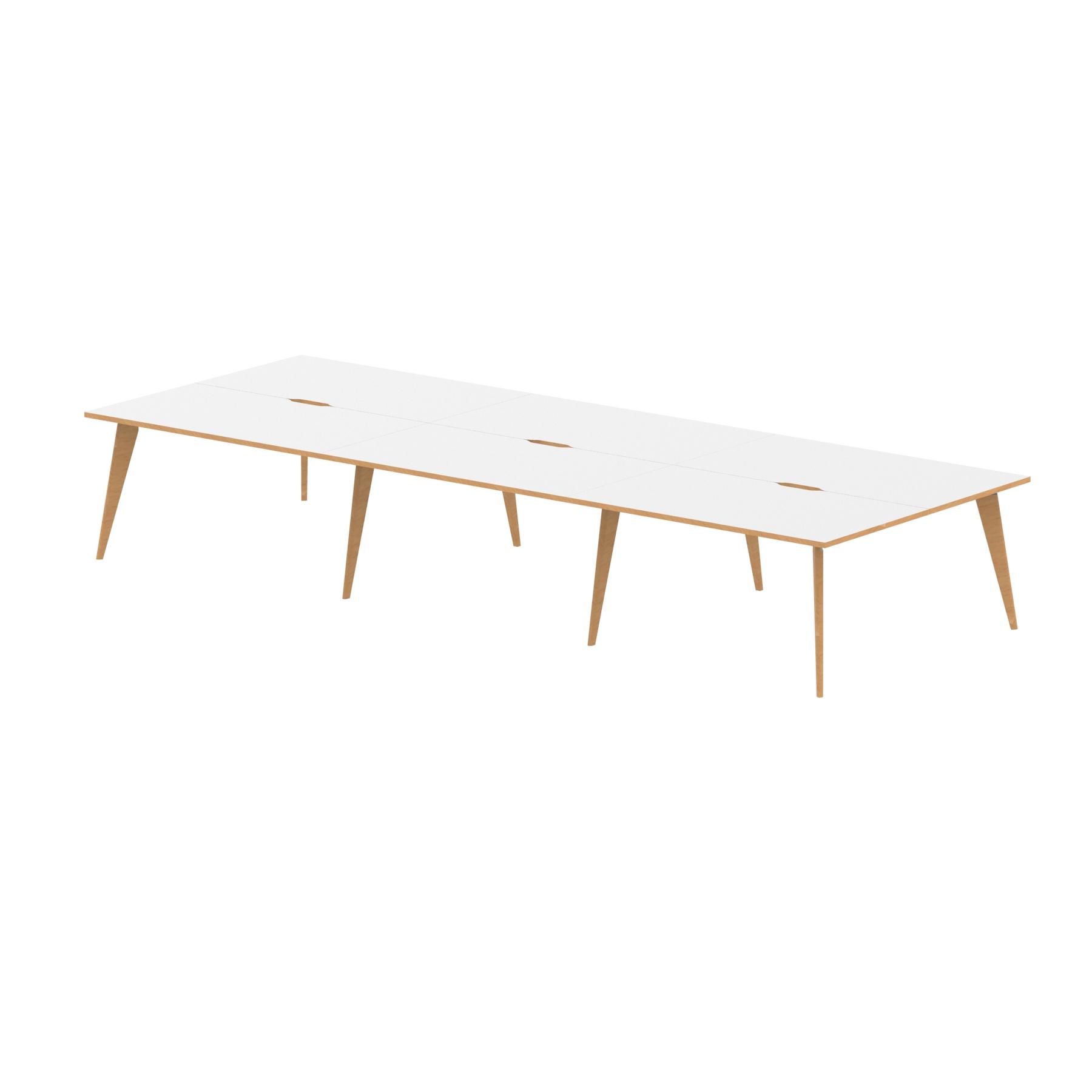 Oslo B2B White Frame Wooden Leg Bench Desk 1400 White With Natural Wood Edge (6 Pod)
