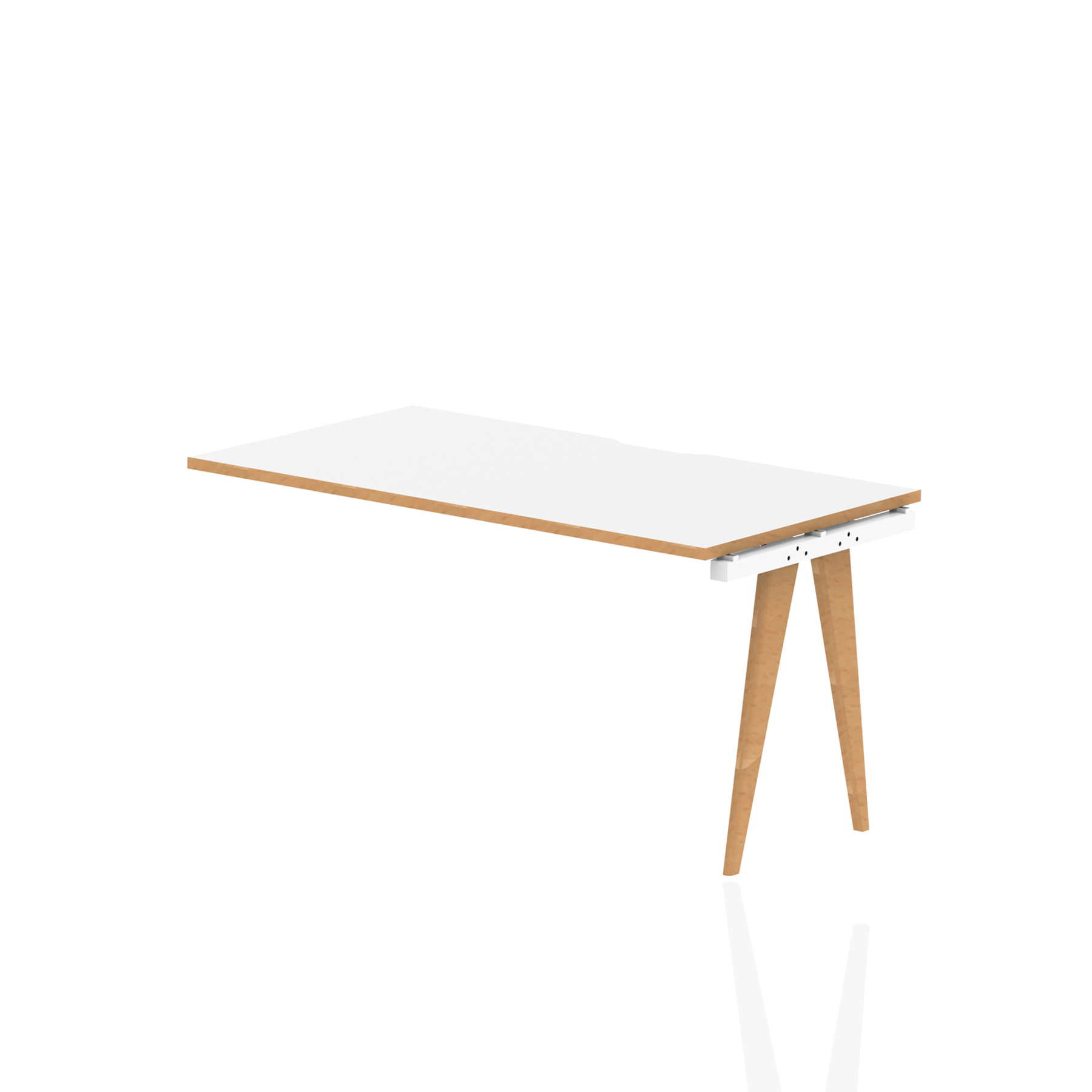 Oslo Single Ext Kit White Frame Wooden Leg Bench Desk 1200 White With Natural Wood Edge