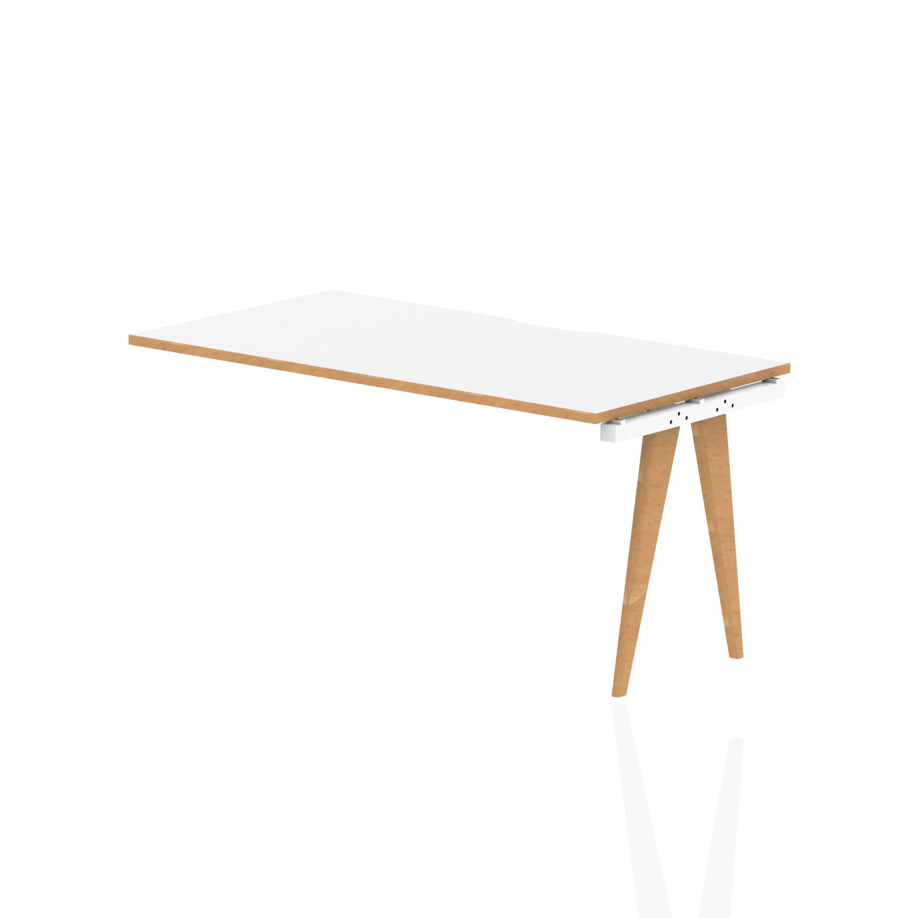 Oslo Single Ext Kit White Frame Wooden Leg Bench Desk 1400 White With Natural Wood Edge