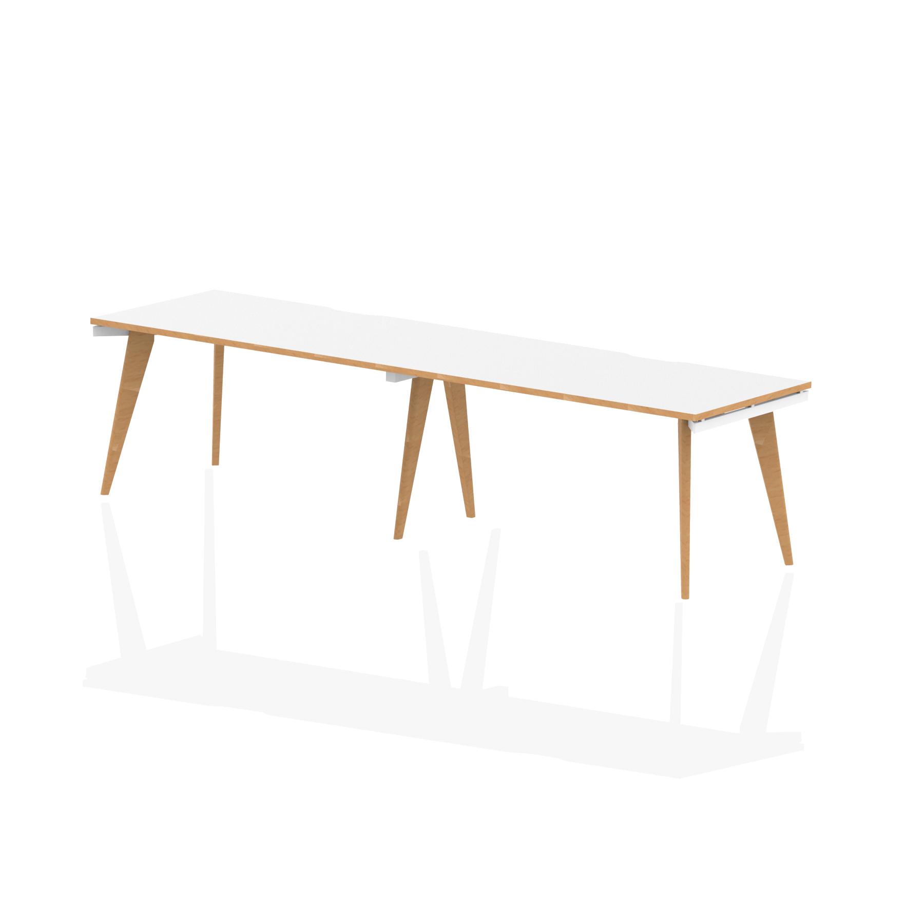 Oslo Single White Frame Wooden Leg Bench Desk 1400 White With Natural Wood Edge (2 Pod)