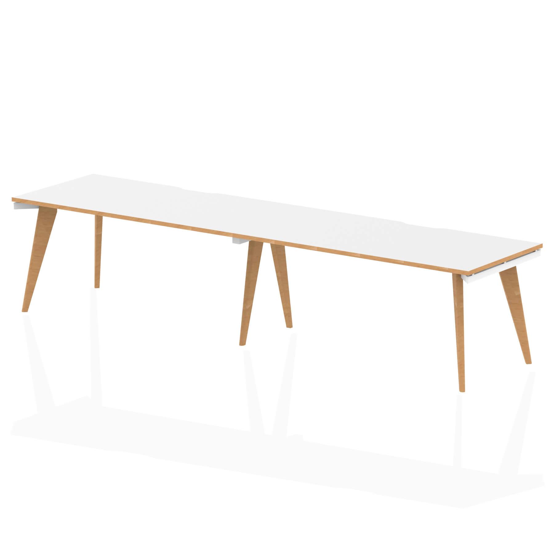 Oslo Single White Frame Wooden Leg Bench Desk 1600 White With Natural Wood Edge (2 Pod)