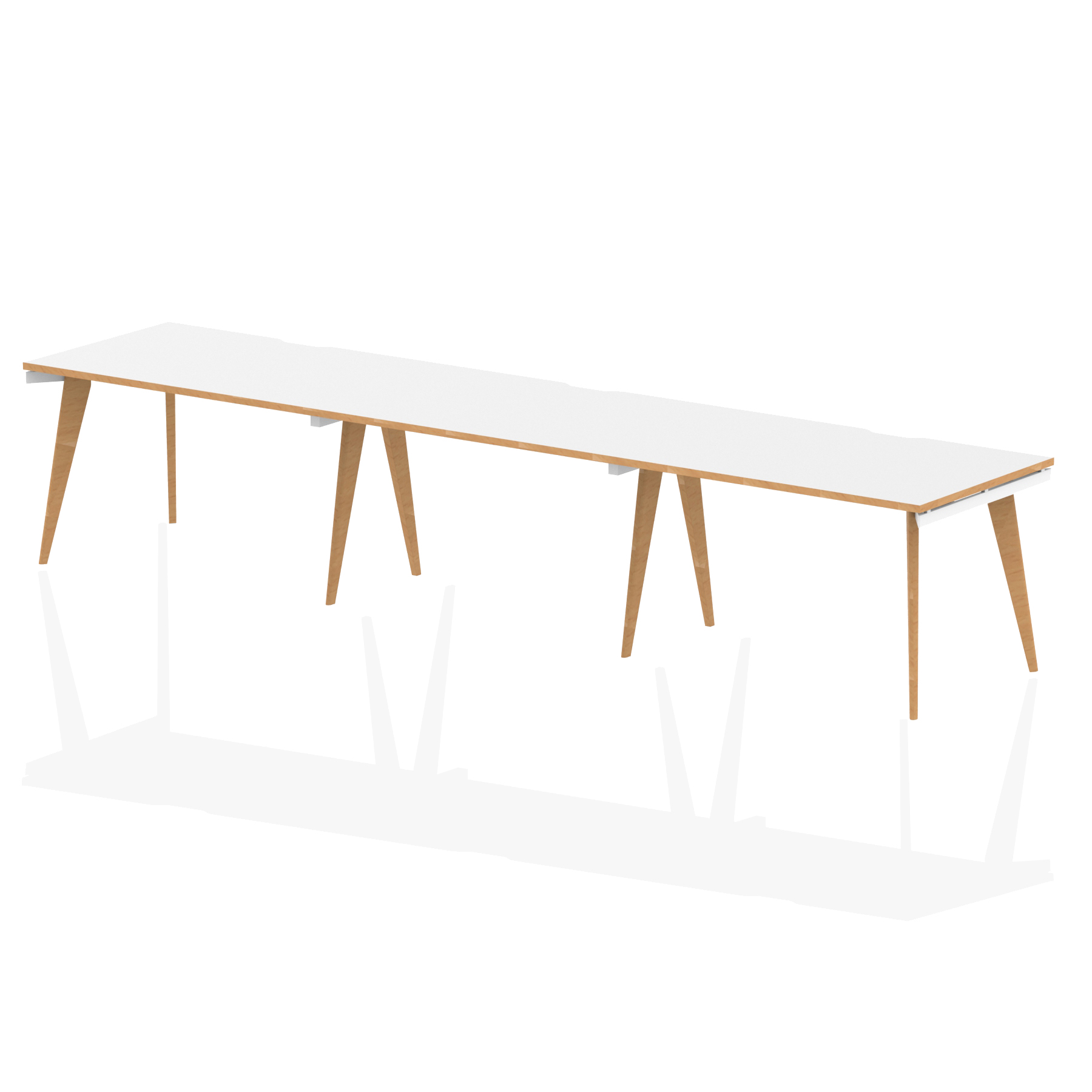 Oslo Single White Frame Wooden Leg Bench Desk 1200 White With Natural Wood Edge (3 Pod)