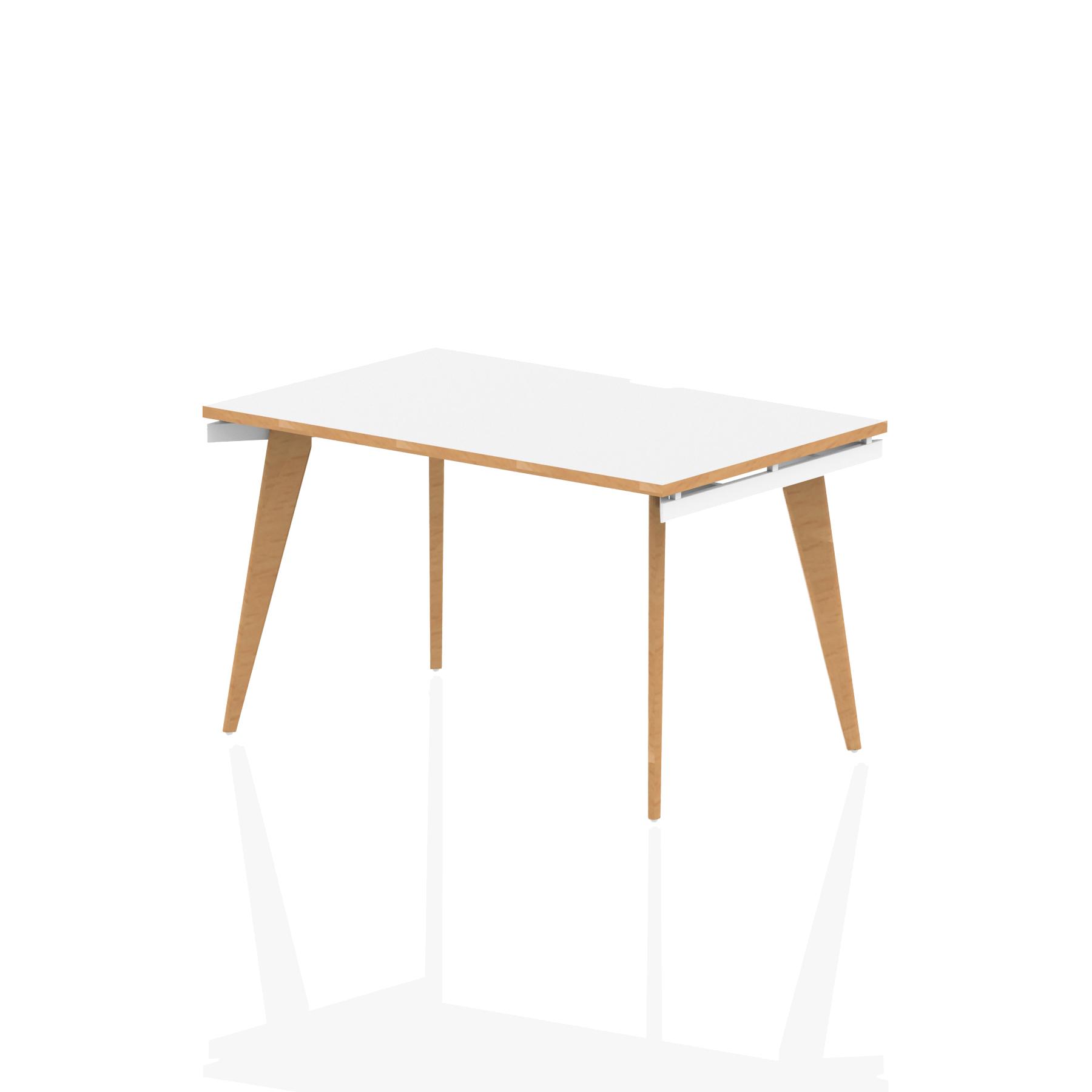 Oslo Single White Frame Wooden Leg Bench Desk 1200 White With Natural Wood Edge