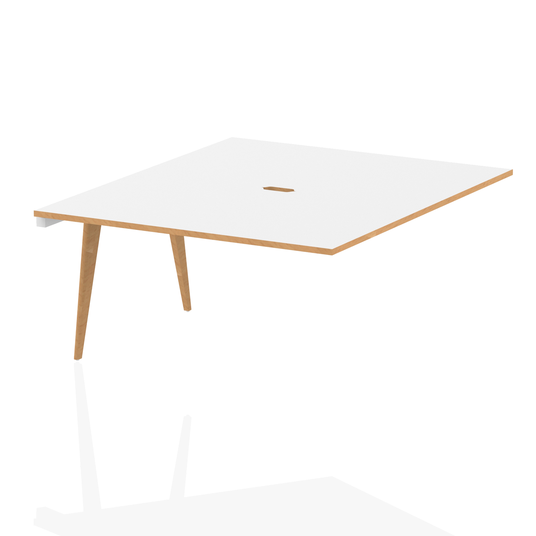 Oslo B2B Ext Kit White Frame Wooden Leg Bench Desk 1400 White With Natural Wood Edge