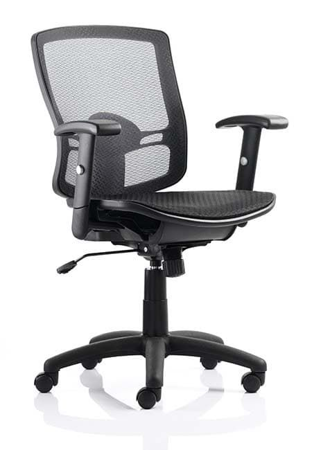 Palma Task Operator Chair Black Mesh Back Black With Arms