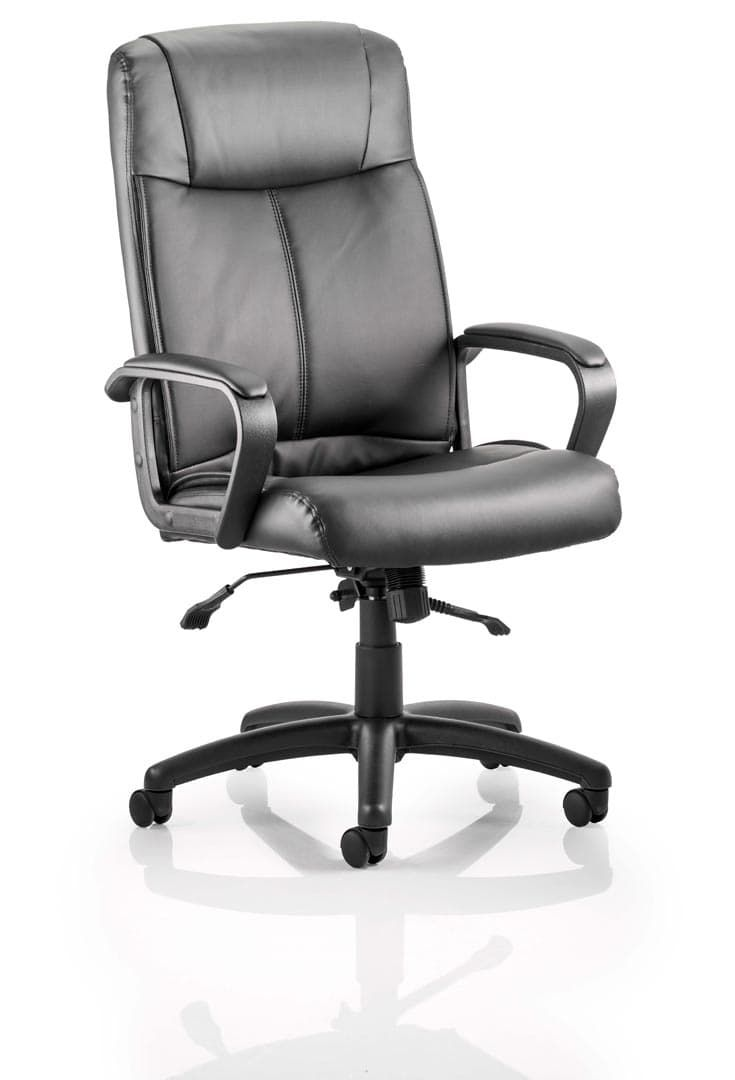 Plaza Executive Chair Black Bonded Leather With Arms