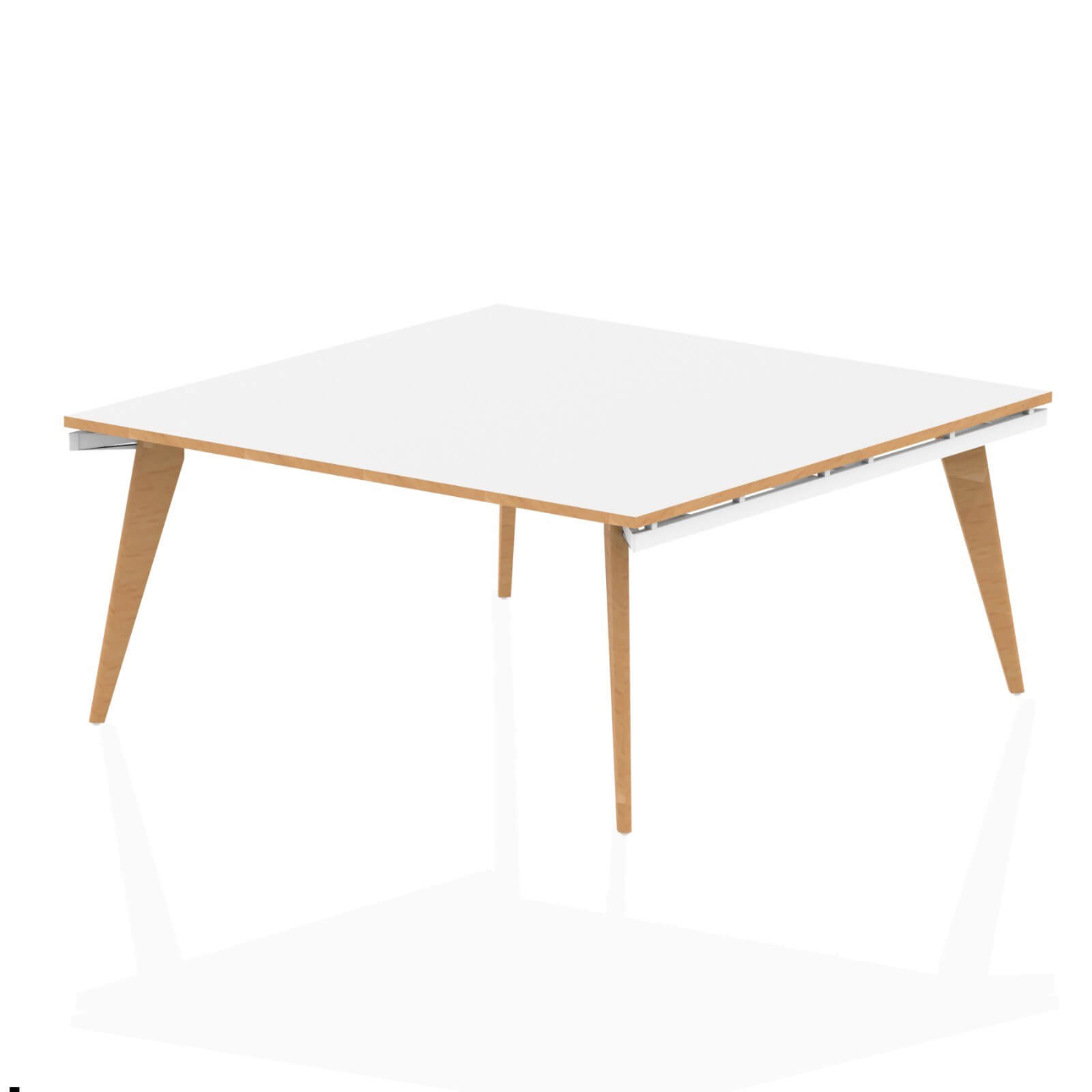 Oslo White Frame Wooden Leg Square Boardroom Table 1600 White With Natural Wood Edge