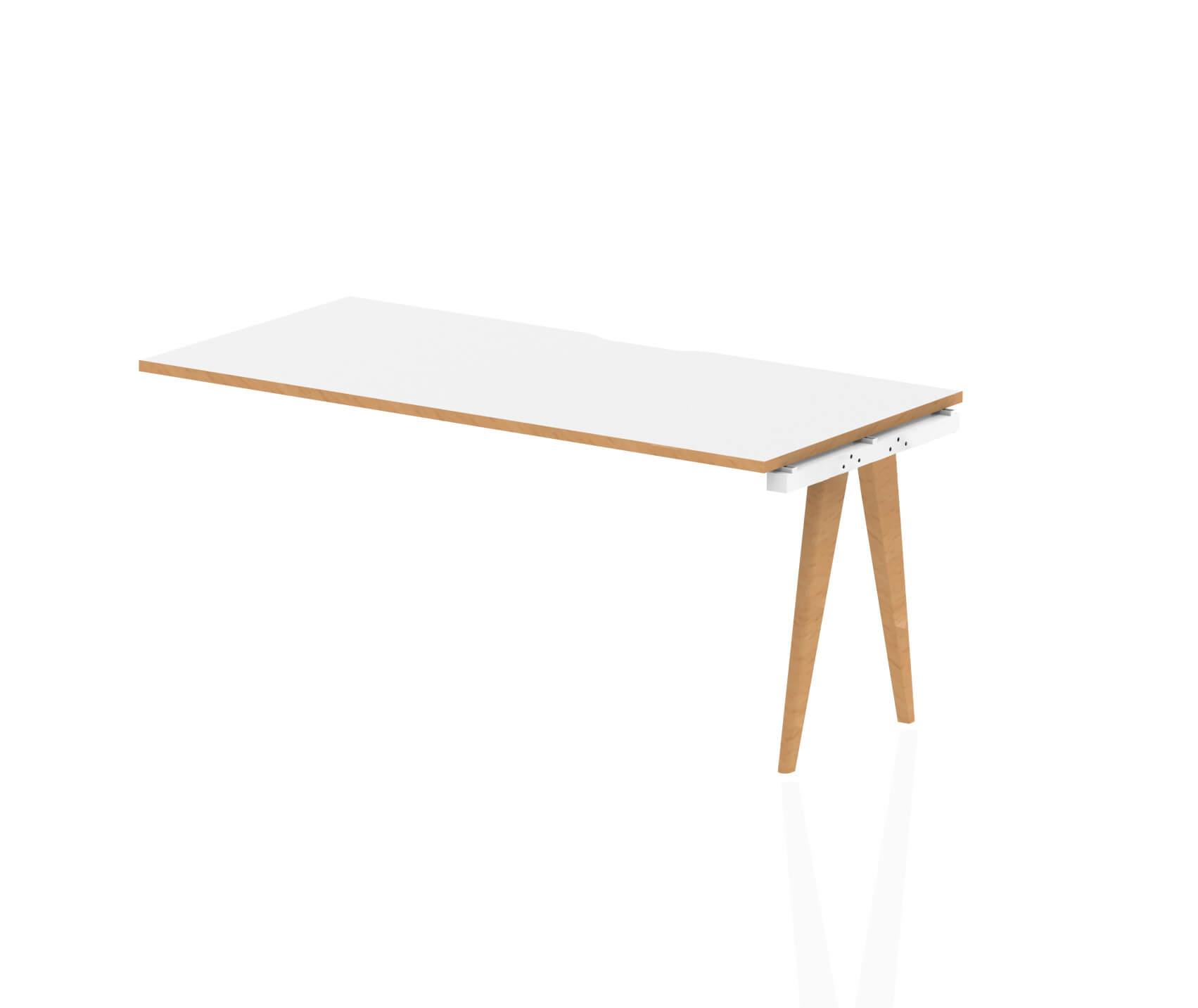 Oslo Single Ext Kit White Frame Wooden Leg Bench Desk 1600 White With Natural Wood Edge