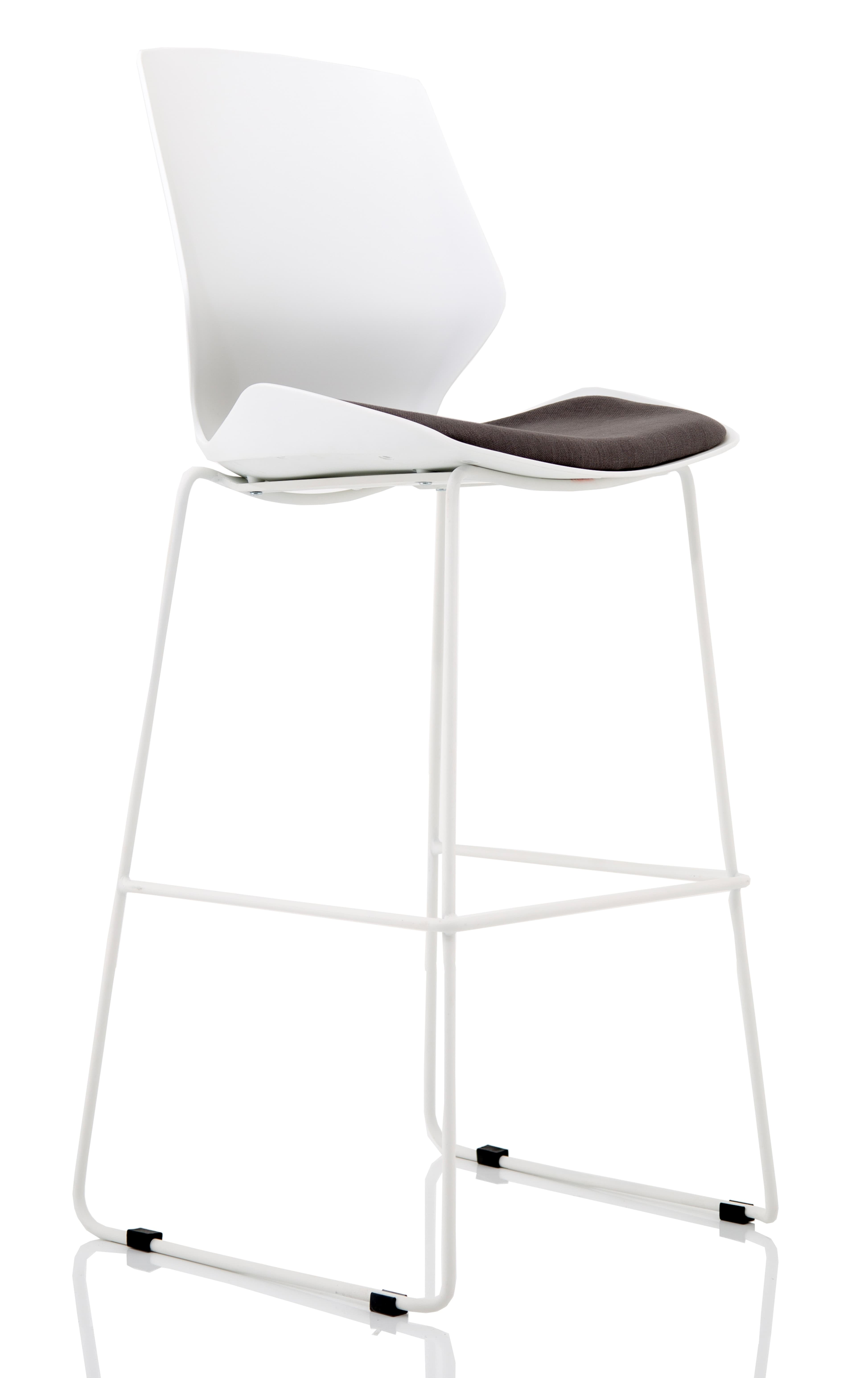 Florence White Frame High Stool Grey Fabric