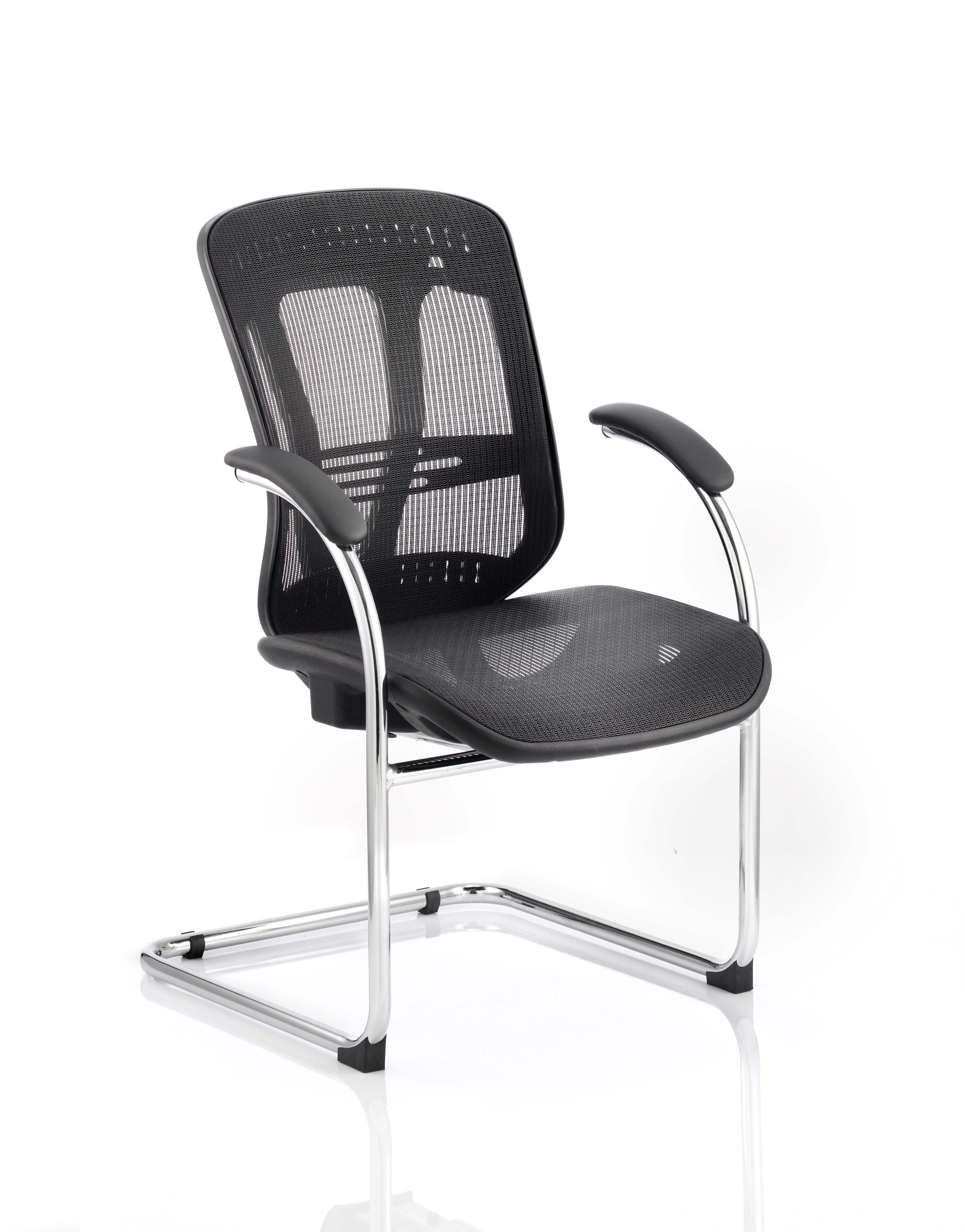 Mirage II Cantilever Chair Black Mesh With Arms