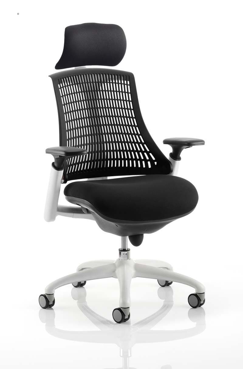 Flex Task Operator Chair White Frame With Black Fabric Seat With Headrest