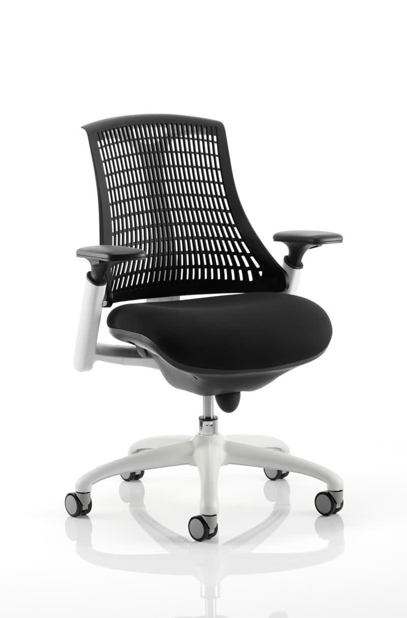 Flex Task Operator Chair White Frame With Black Fabric Seat