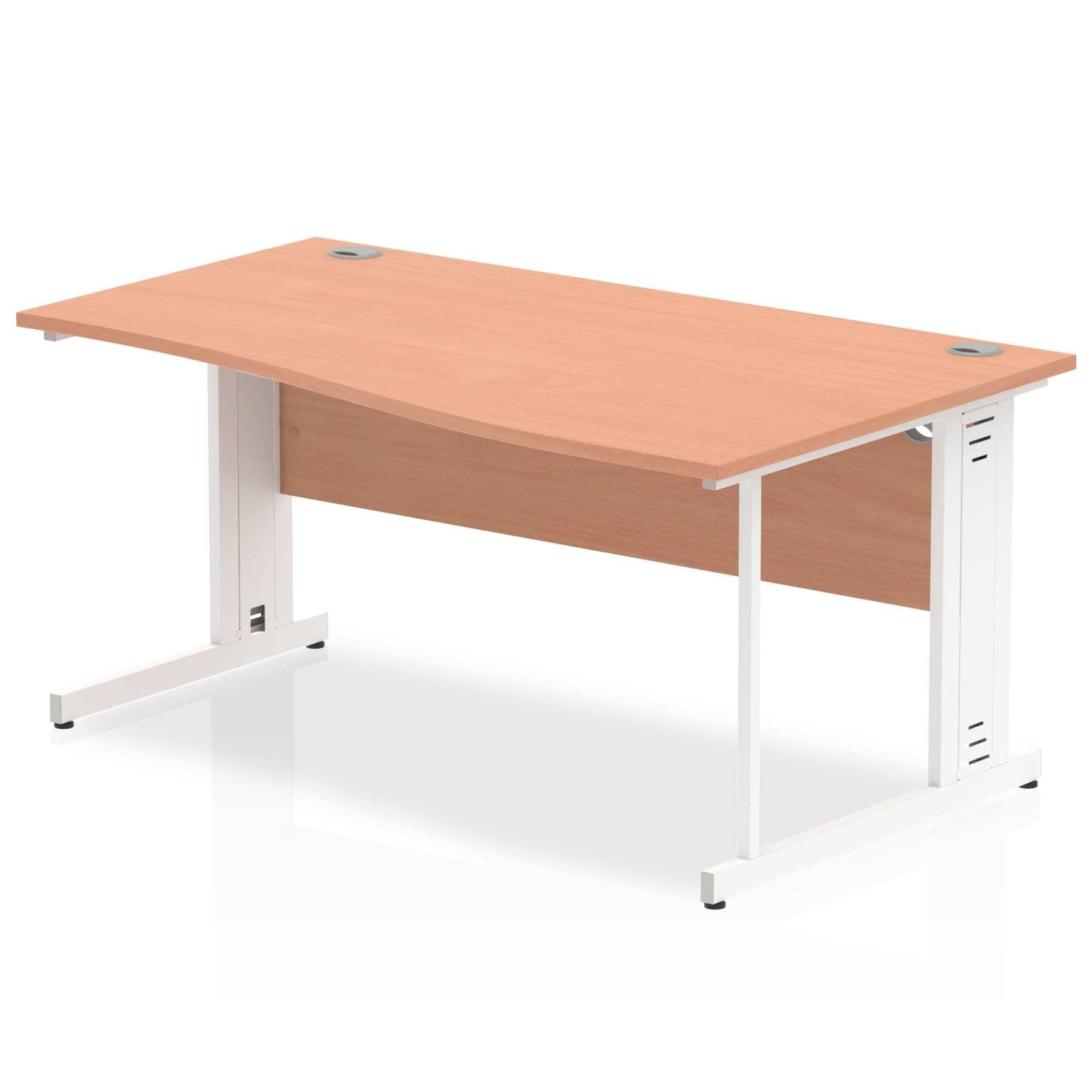 Impulse 1600 Right Hand White Cable Managed Leg Wave Desk