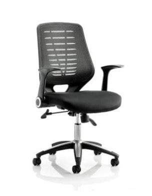 Relay Task Operator Chair Airmesh Seat Black Back With Arms
