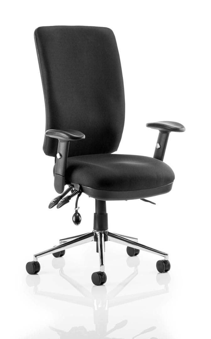 Chiro High Back Task Operators Chair Black With Arms