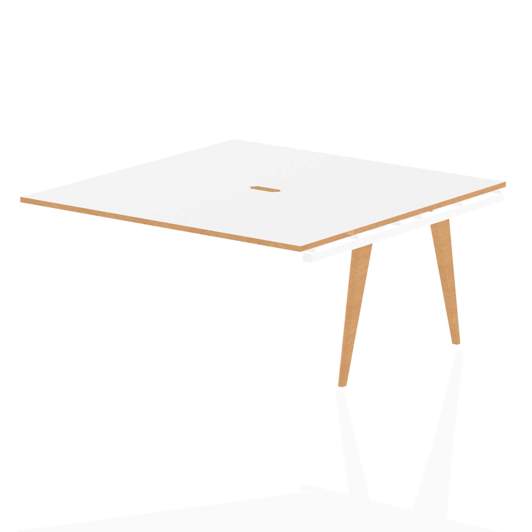Oslo B2B Ext Kit White Frame Wooden Leg Bench Desk 1600 White With Natural Wood Edge