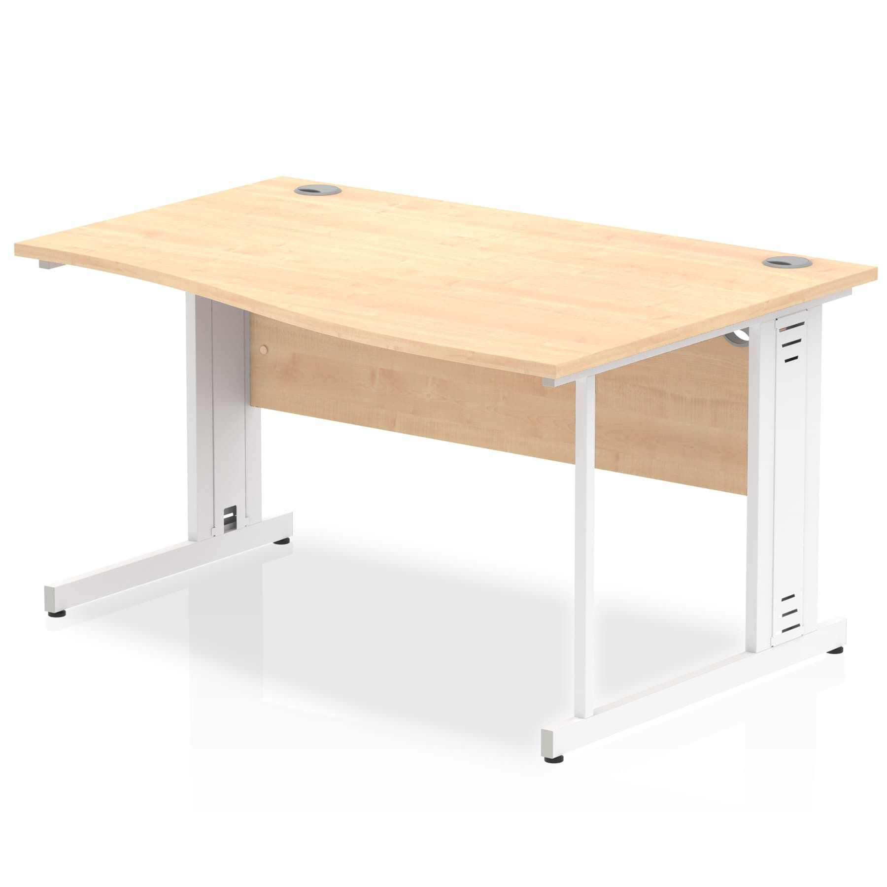 Impulse 1400 Right Hand White Cable Managed Leg Wave Desk
