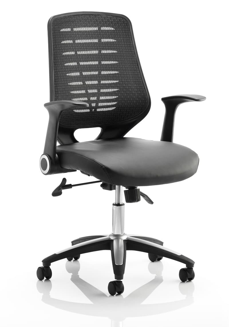 Relay Task Operator Chair Leather Seat Black Back With Arms