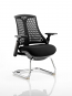 Flex Visitor Cantilever Chair Black Frame Black Fabric Seat With Arms